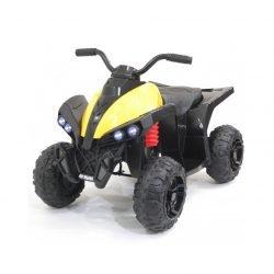 Детский квадроцикл EVA 2WD 12V - HM1588 желтый (кресло кожа, колеса резина, музыка, свет)